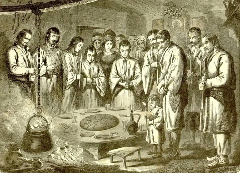 Божић у српској кући, илустрација 1886. година