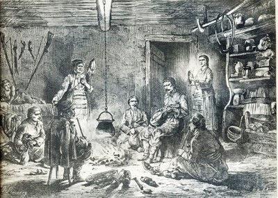 Сеоска породица око огњишта, илустрација