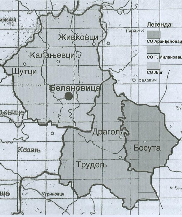 Карта црквене општине белановачке